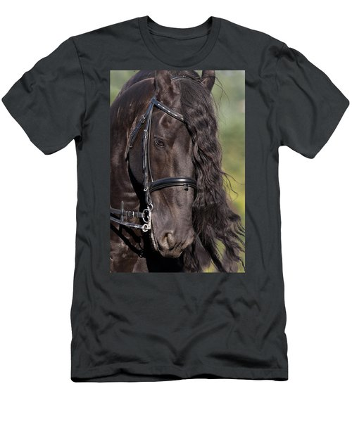 Men's T-Shirt (Slim Fit) featuring the photograph Portrait Of A Friesian D6438 by Wes and Dotty Weber