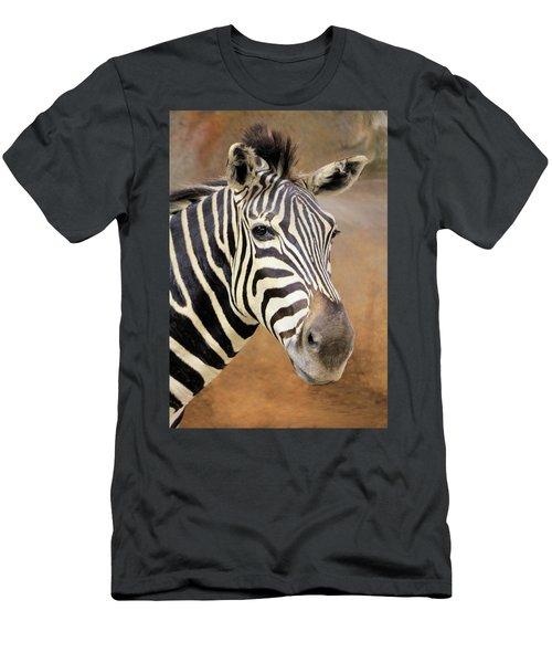 Portrait Of A Zebra Men's T-Shirt (Slim Fit) by Rosalie Scanlon