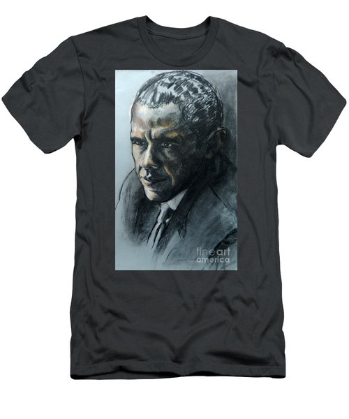 Charcoal Portrait Of President Obama Men's T-Shirt (Athletic Fit)