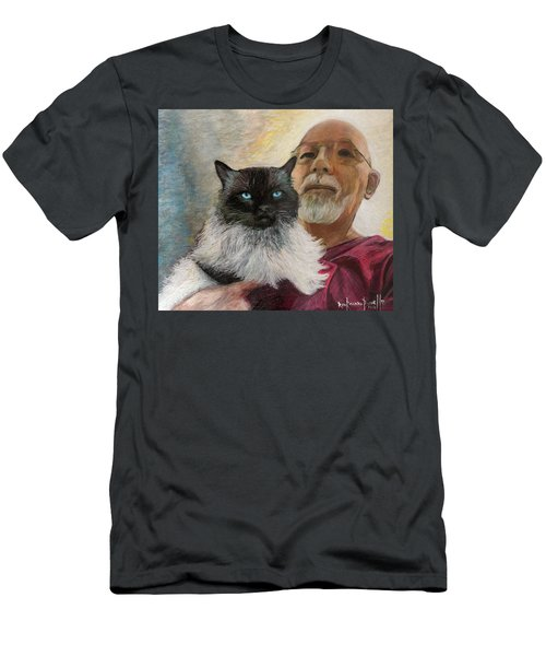 Men's T-Shirt (Slim Fit) featuring the painting Portrait Of Veda And Ron by Ron Richard Baviello