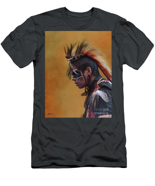 Men's T-Shirt (Slim Fit) featuring the mixed media Pow Wow by Jim  Hatch