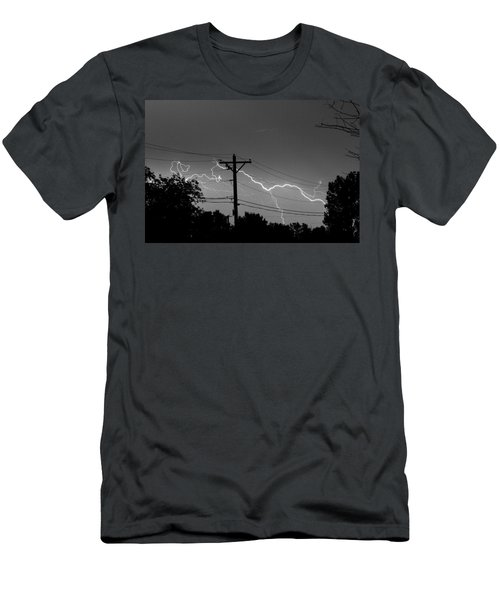 Power Lines Bw Fine Art Photo Print Men's T-Shirt (Athletic Fit)