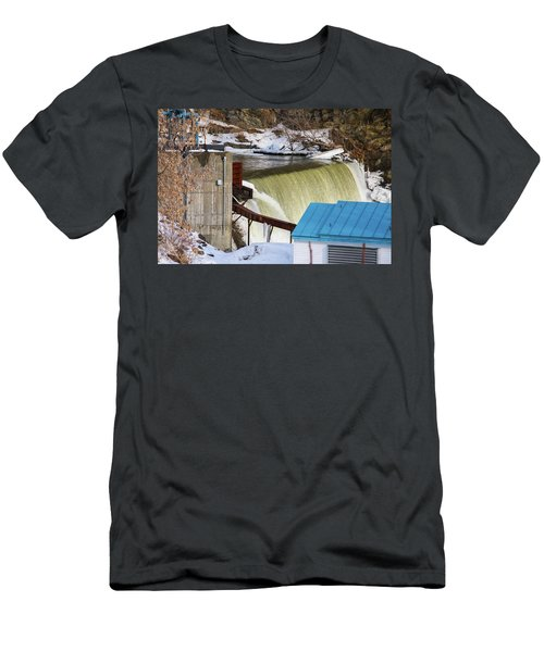 Power Station Falls On Black River Two Men's T-Shirt (Athletic Fit)