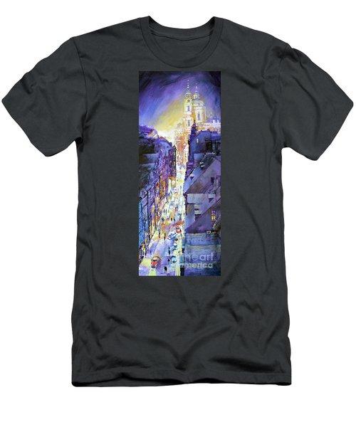 Praha Mostecka Str. Winter Evening Men's T-Shirt (Athletic Fit)