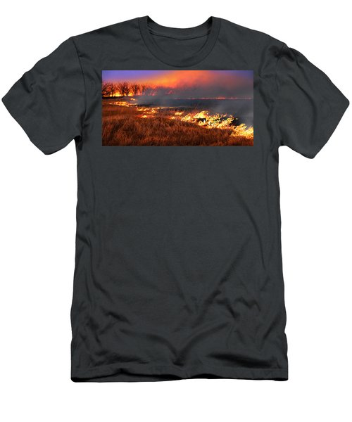 Men's T-Shirt (Slim Fit) featuring the photograph Prairie Burn by Rod Seel