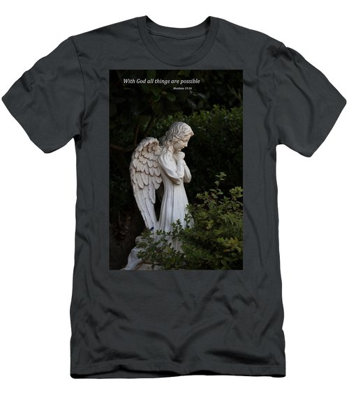 Men's T-Shirt (Slim Fit) featuring the photograph Praying Angel With Verse by Kathleen Scanlan