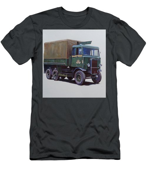 Men's T-Shirt (Slim Fit) featuring the painting Pre-war Leyland Wrecker. by Mike Jeffries