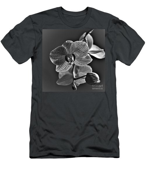 Men's T-Shirt (Athletic Fit) featuring the photograph Pretty Orchid Bw by Jeremy Hayden