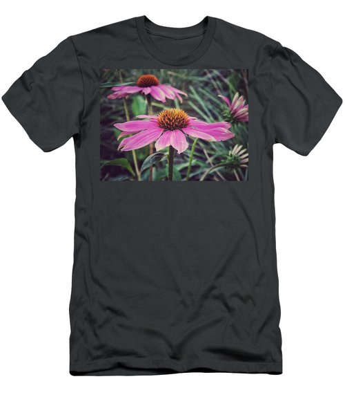 Men's T-Shirt (Slim Fit) featuring the photograph Pretty Pink Flower Parasol by Karen Stahlros