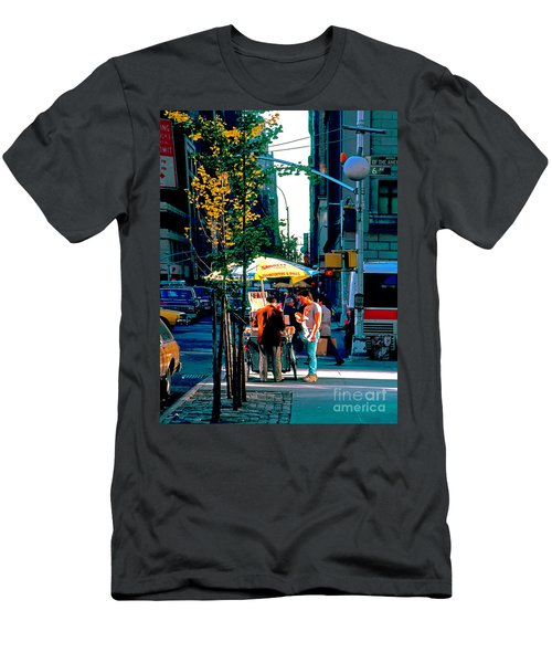 Men's T-Shirt (Athletic Fit) featuring the photograph Hot Dog Stand Nyc Late Afternoon Ik by Tom Jelen