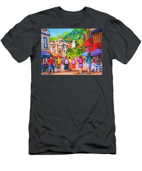 Men's T-Shirt (Slim Fit) featuring the painting Prince Arthur Street Montreal by Carole Spandau