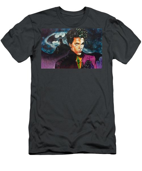 Men's T-Shirt (Slim Fit) featuring the painting  Prince Batdance by Darryl Matthews
