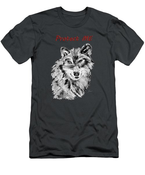 Protect Me - Wolf Art By Valentina Miletic Men's T-Shirt (Athletic Fit)