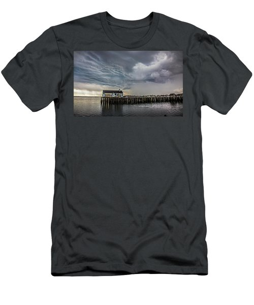 Men's T-Shirt (Athletic Fit) featuring the photograph Provincetown Storm, Cabrals Wharf by Charles Harden