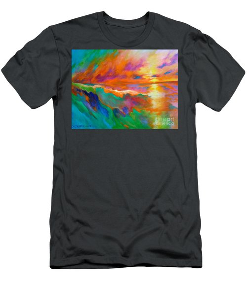 Men's T-Shirt (Slim Fit) featuring the painting Psychedelic Sea by Alison Caltrider