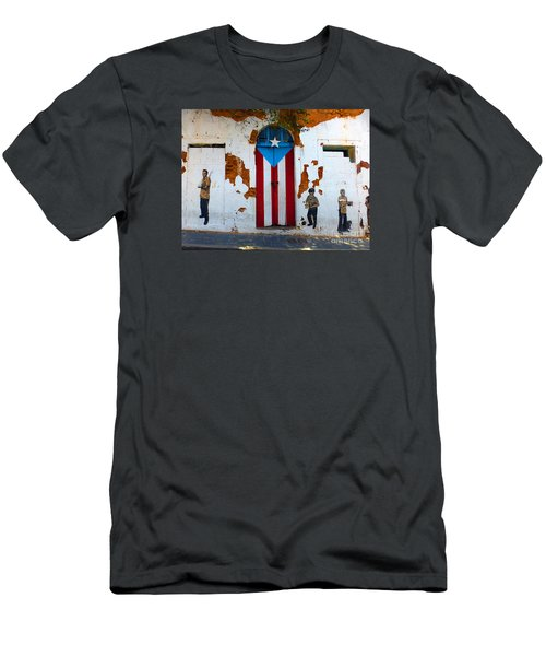 Men's T-Shirt (Slim Fit) featuring the photograph Puerto Rican Flag On Wooden Door by Steven Spak