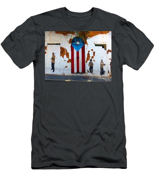 Puerto Rican Flag On Wooden Door Men's T-Shirt (Athletic Fit)