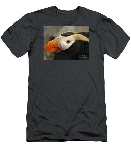 Puffin Portrait Men's T-Shirt (Slim Fit) by Lew Davis