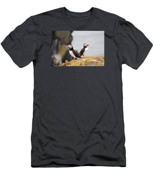 Men's T-Shirt (Slim Fit) featuring the photograph Puffin's by David Grant
