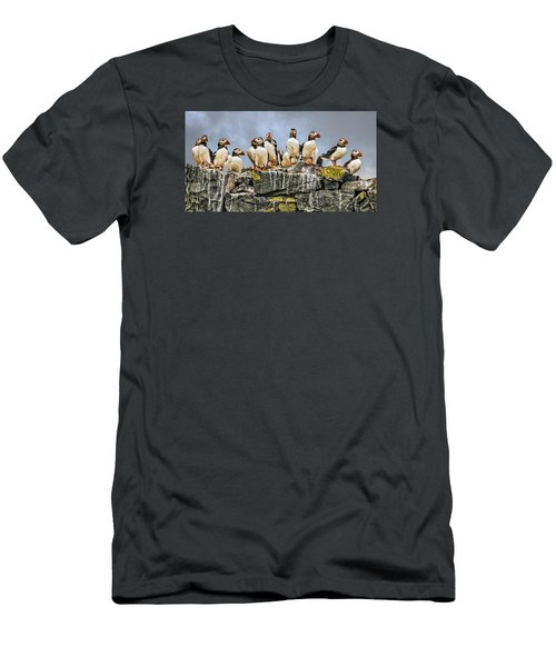 Men's T-Shirt (Slim Fit) featuring the photograph Puffin's Rock by Brian Tarr
