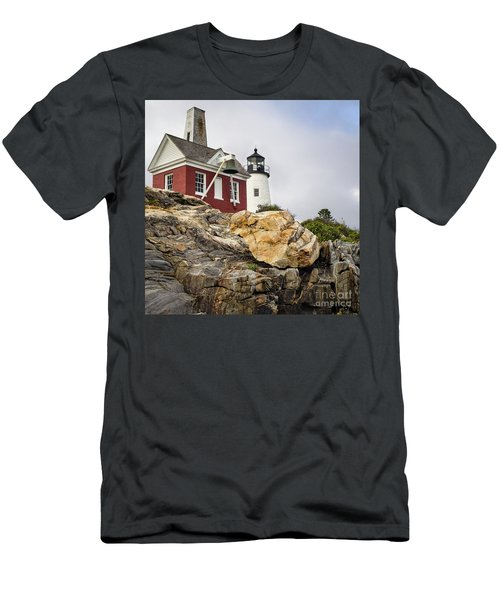 Pumphouse And Tower, Pemaquid Light, Bristol, Maine  -18958 Men's T-Shirt (Athletic Fit)