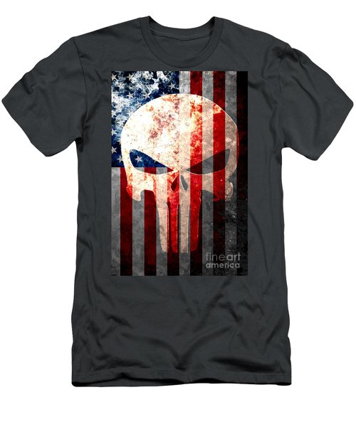 Punisher Skull And American Flag On Distressed Metal Sheet Men's T-Shirt (Slim Fit) by M L C