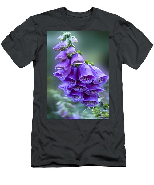 Purple Bell Flowers Foxglove Flowering Stalk Men's T-Shirt (Slim Fit) by Carol F Austin