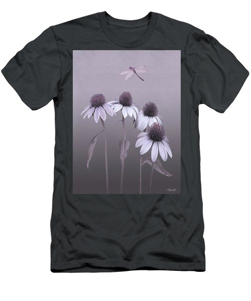 Purple Coneflowers And Dragonfly Men's T-Shirt (Athletic Fit)