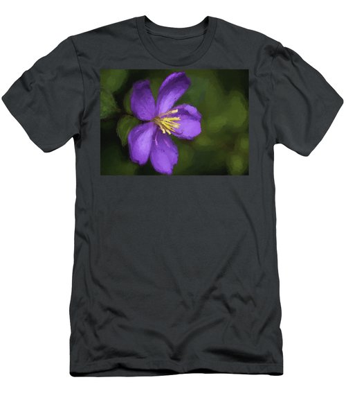 Men's T-Shirt (Athletic Fit) featuring the photograph Purple Flower Macro Impression by Dan McManus