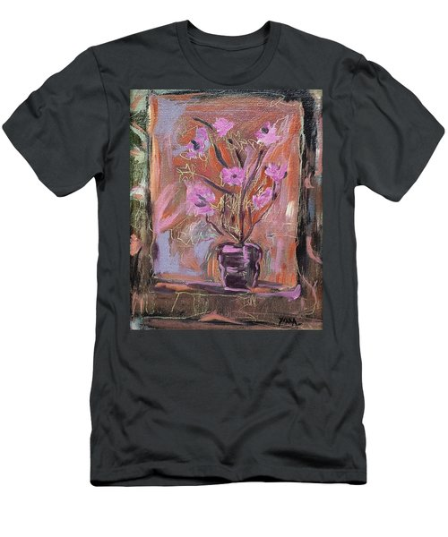 Purple Flowers In Vase Men's T-Shirt (Athletic Fit)