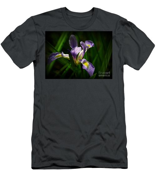 Purple Iris Men's T-Shirt (Slim Fit) by Lisa L Silva