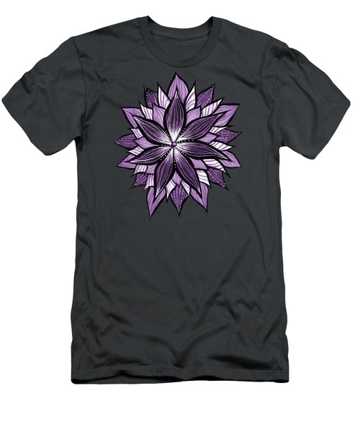 Purple Mandala Like Ink Drawn Abstract Flower Men's T-Shirt (Athletic Fit)