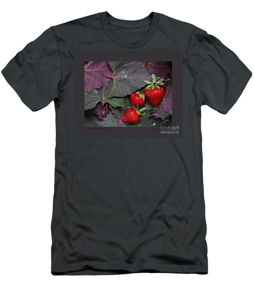 Purple Orach With Strawberries Men's T-Shirt (Slim Fit) by Patricia Overmoyer