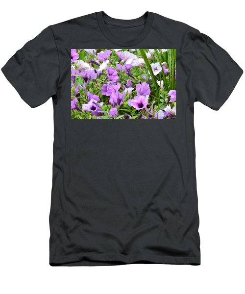 Purple Petunias Men's T-Shirt (Athletic Fit)