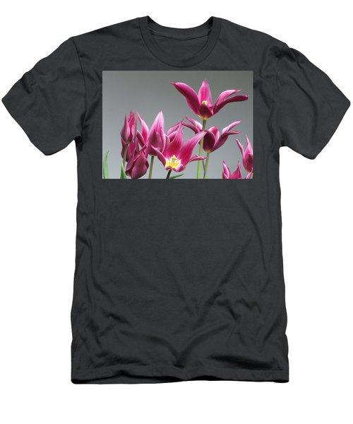 Purple Tulips Men's T-Shirt (Slim Fit) by Helen Northcott