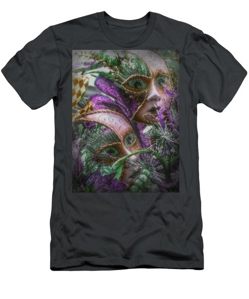 Men's T-Shirt (Slim Fit) featuring the mixed media Purple Twins by Amanda Eberly-Kudamik