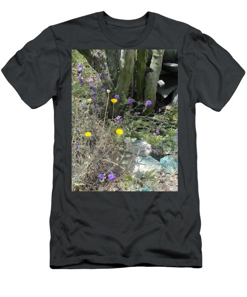 Purple Yellow Flowers Green Cactus Men's T-Shirt (Athletic Fit)