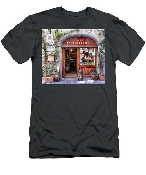 Quaint Restaurant In Florence Men's T-Shirt (Slim Fit) by Dave Mills