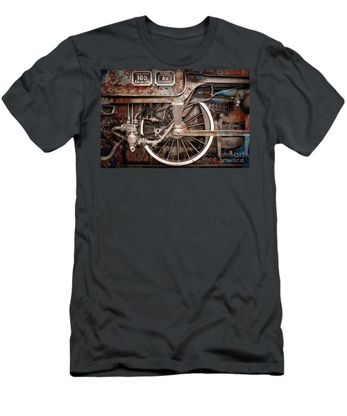 Rail Wheel Grunge Detail,  Steam Locomotive 06 Men's T-Shirt (Athletic Fit)
