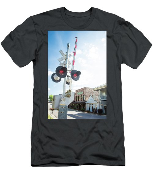 Men's T-Shirt (Slim Fit) featuring the photograph Railroad Lights In Old Town Helena by Parker Cunningham