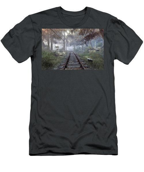 Rails To A Forgotten Place Men's T-Shirt (Slim Fit) by Kai Saarto