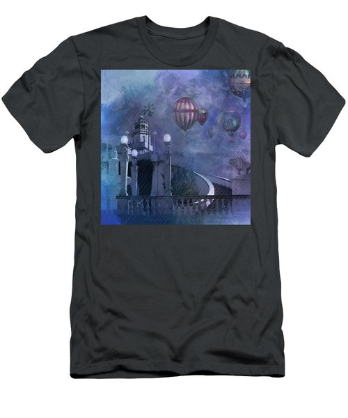 Rain And Balloons At Hearst Castle Men's T-Shirt (Slim Fit) by Jeff Burgess
