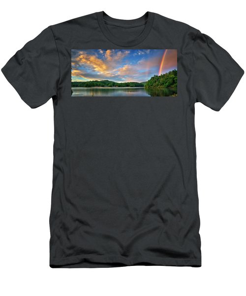 Rainbow At Linville Land Harbor Men's T-Shirt (Slim Fit) by Steve Hurt