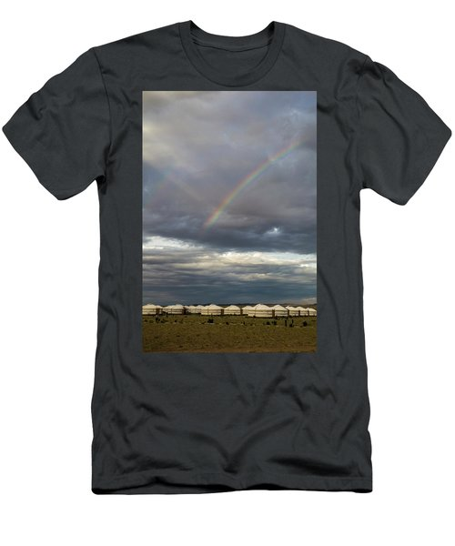Men's T-Shirt (Athletic Fit) featuring the photograph Rainbow Over Ger Camp, Gobi, 2016 by Hitendra SINKAR