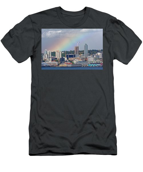 Rainbow Over Seattle Men's T-Shirt (Athletic Fit)