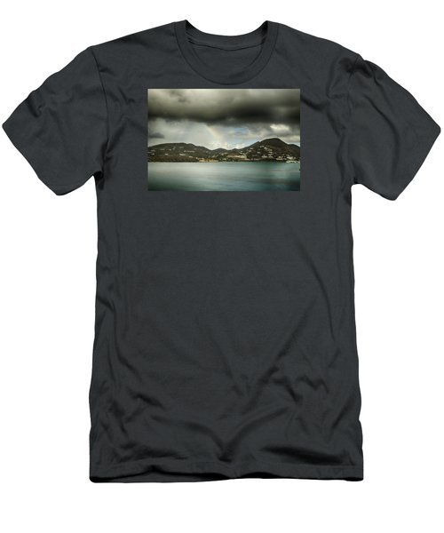 Men's T-Shirt (Slim Fit) featuring the photograph Rainbow Over St. Maarten by Coby Cooper
