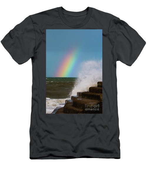 Rainbow Over The Crashing Waves Men's T-Shirt (Athletic Fit)