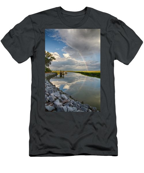 Rainbow Reflection Men's T-Shirt (Slim Fit) by Patricia Schaefer