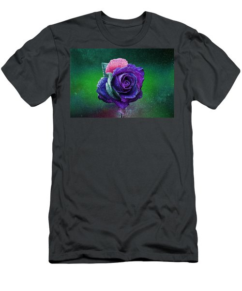 Men's T-Shirt (Athletic Fit) featuring the photograph Rainbow Rose Among The Stars by Ericamaxine Price