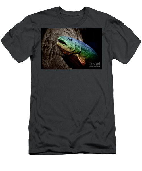 Men's T-Shirt (Slim Fit) featuring the photograph Rainbow Trout Wood Sculpture by John Stephens
